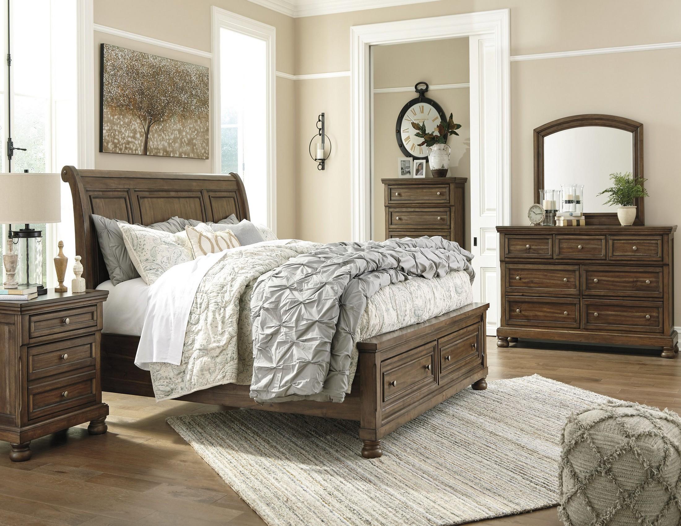 Flynnter Medium Brown Sleigh Storage Bedroom Set 1stopbedrooms