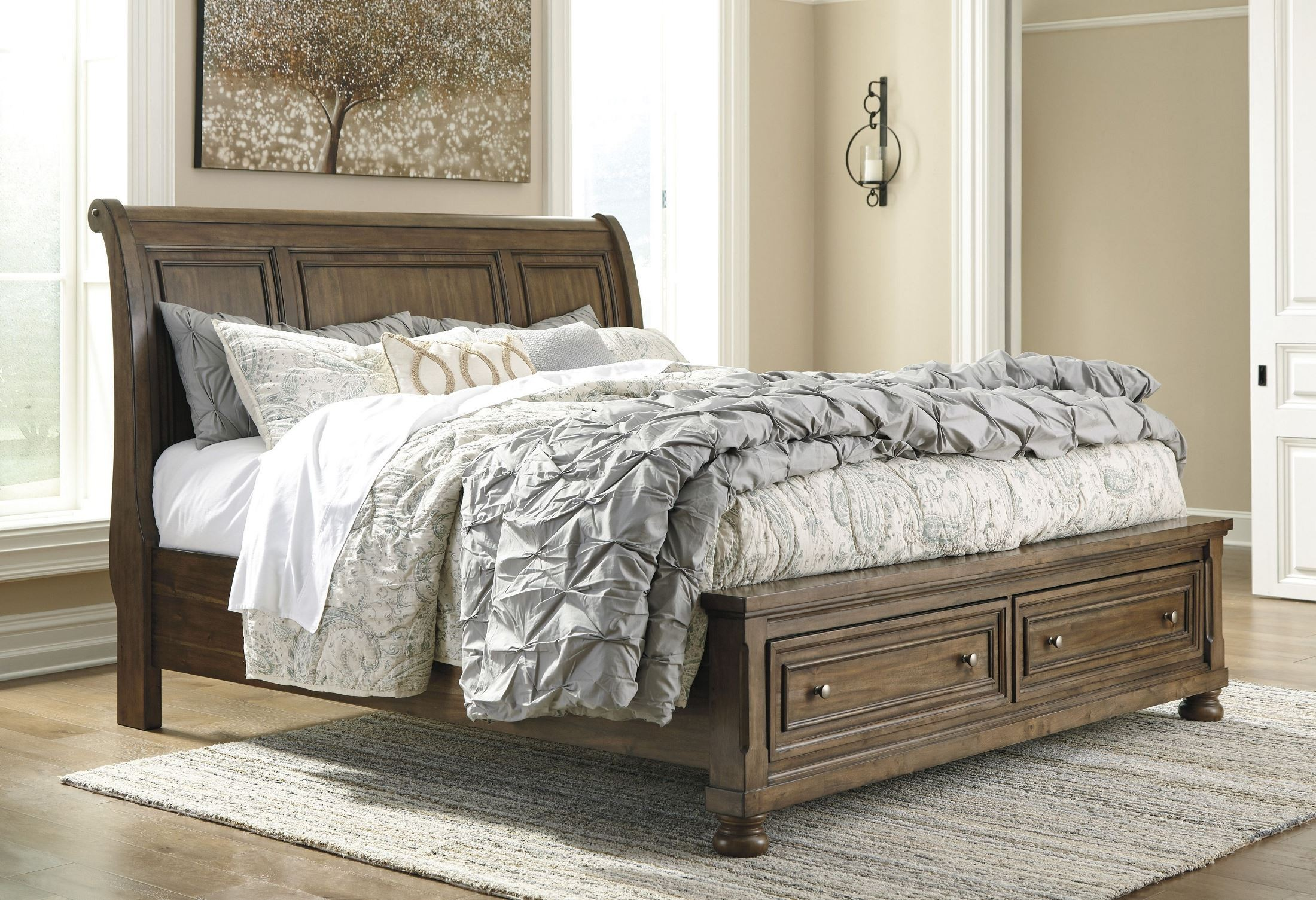 Flynnter Medium Brown Sleigh Storage Bedroom Set