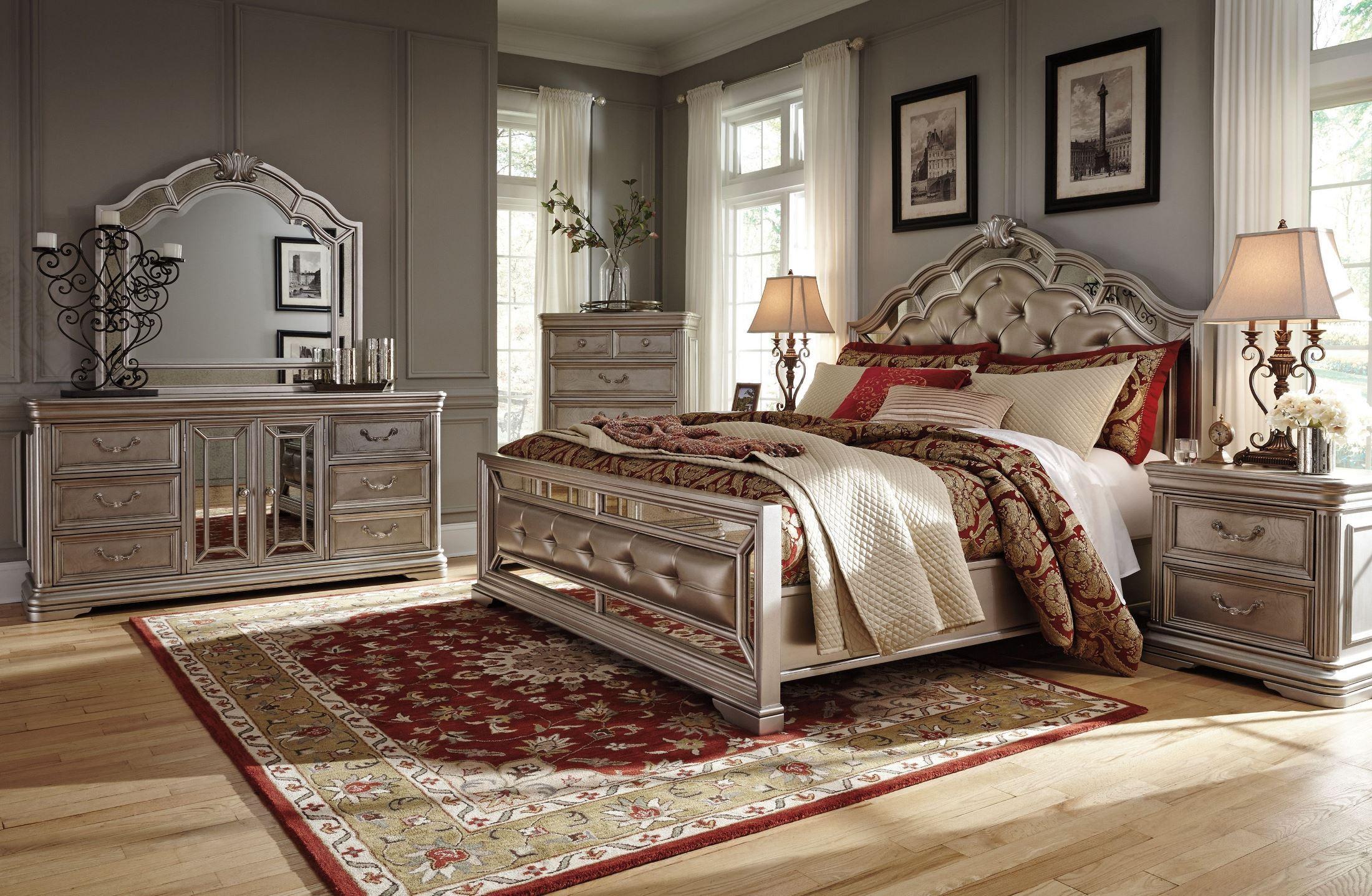 Birlanny Silver Upholstered Panel Bedroom Set Media Gallery 1