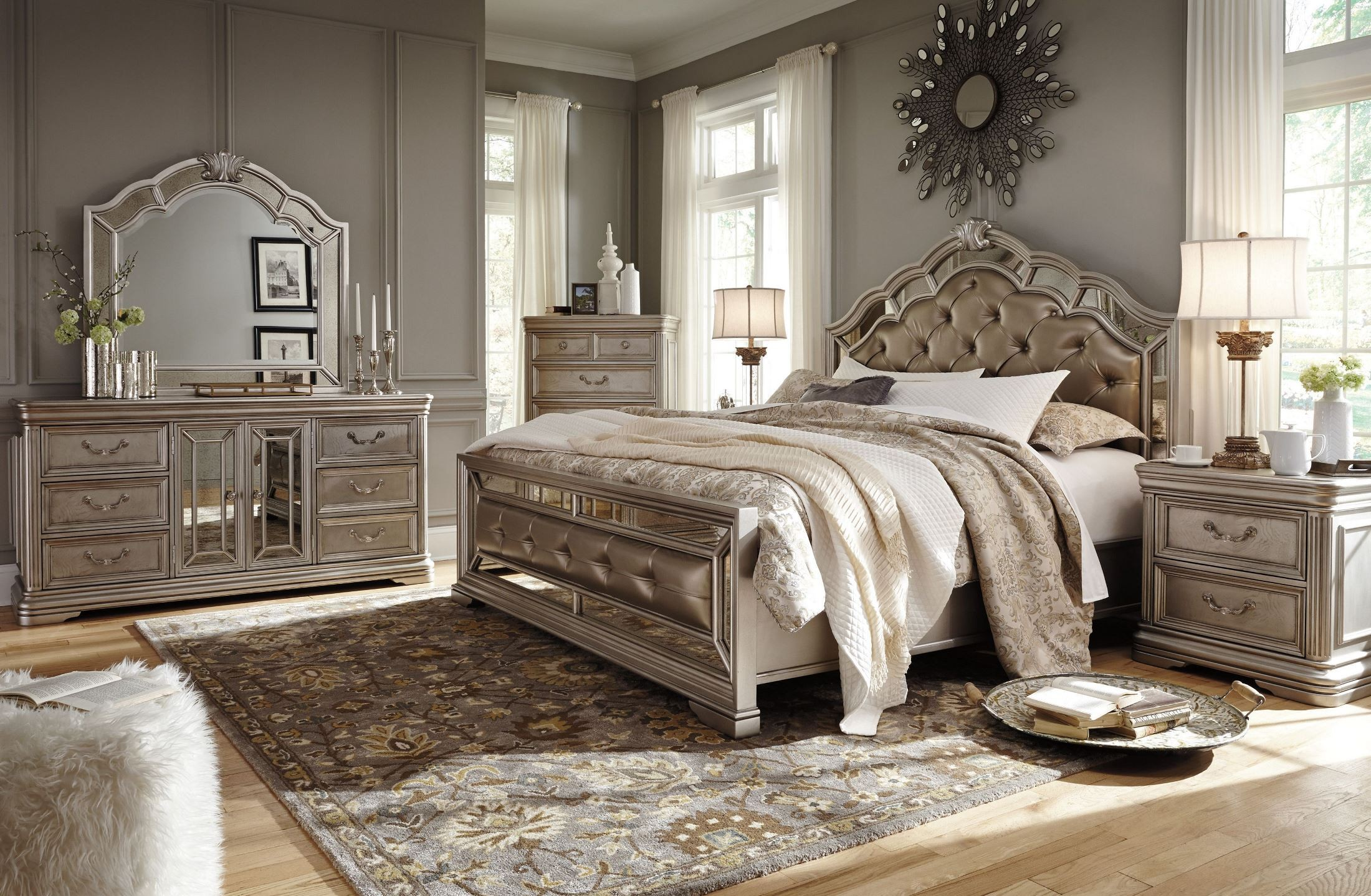 Birlanny Silver Upholstered Panel Bedroom Set Media Gallery
