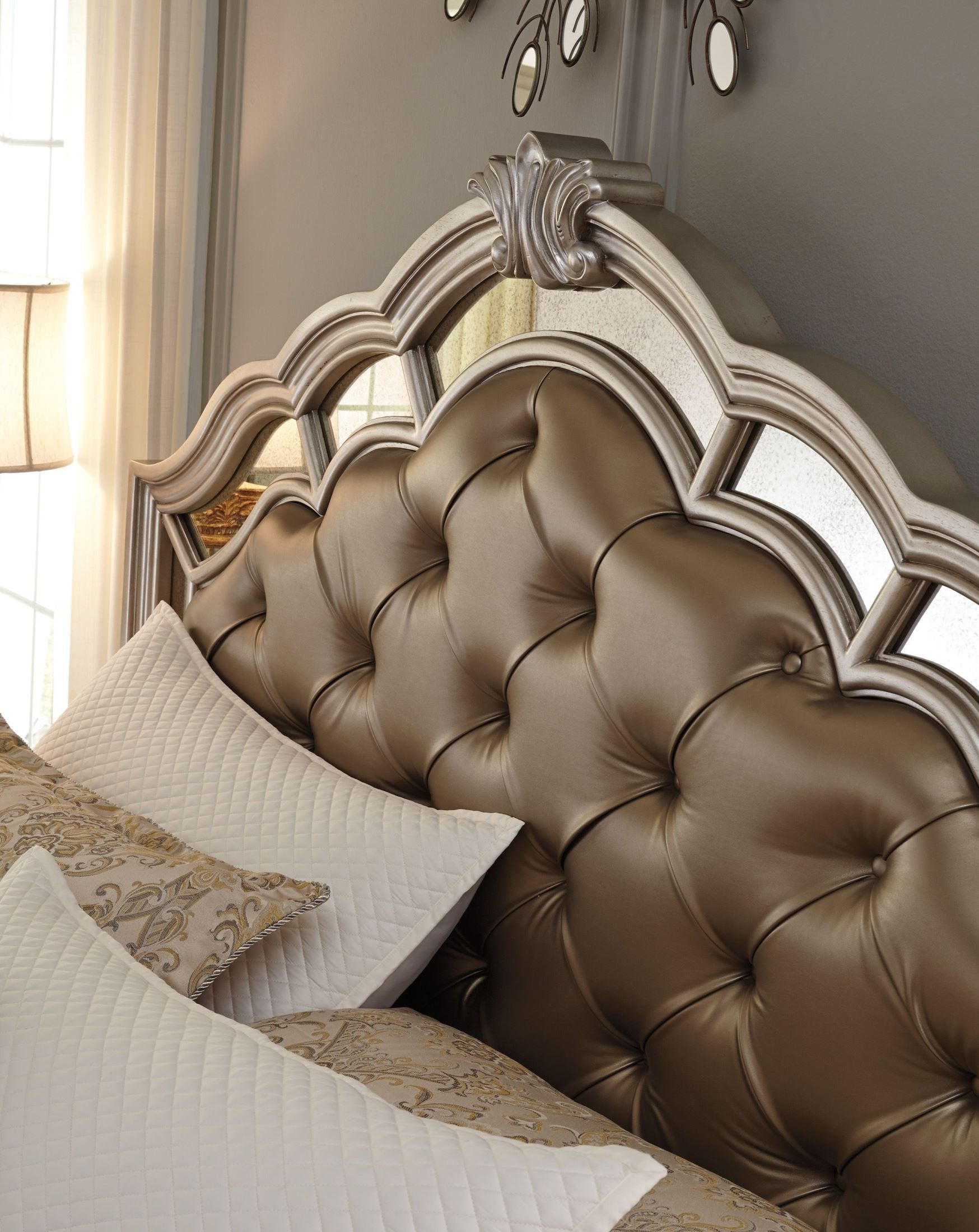 Birlanny Silver Upholstered Panel Bedroom Set Media Gallery 3