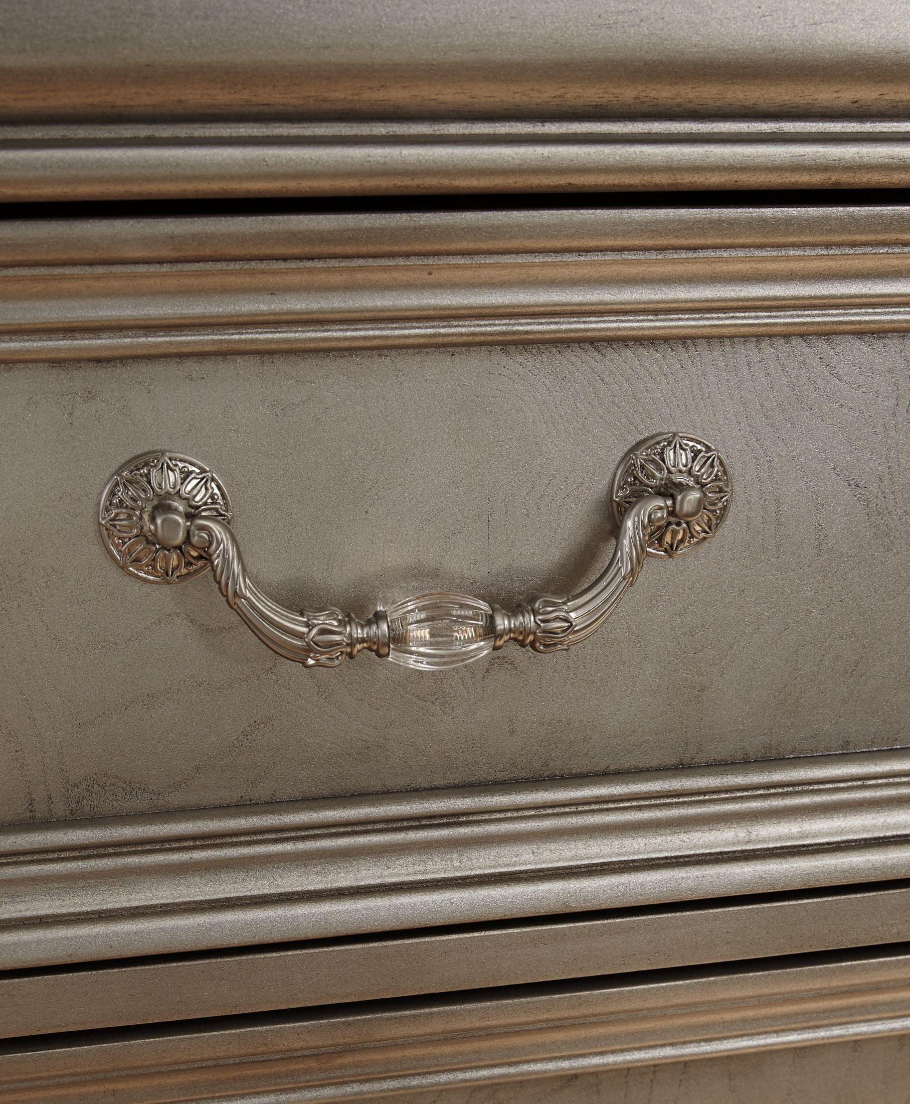Birlanny Silver Upholstered Panel Bedroom Set B720 57 54: Birlanny Silver Upholstered 4 Piece Panel Bedroom Set