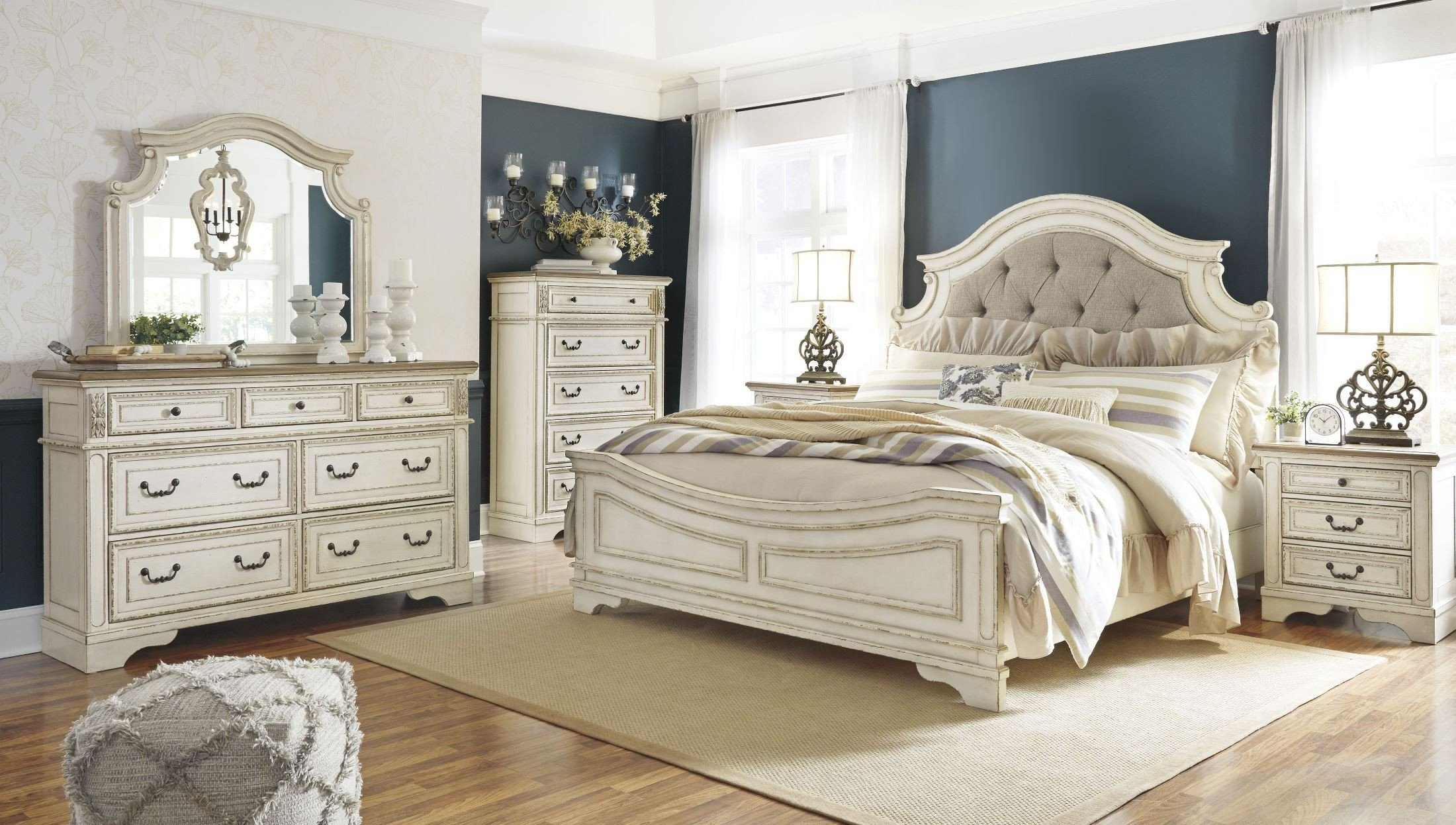 Realyn Chipped Two Tone Upholstered Panel Bedroom Set Media Gallery 1