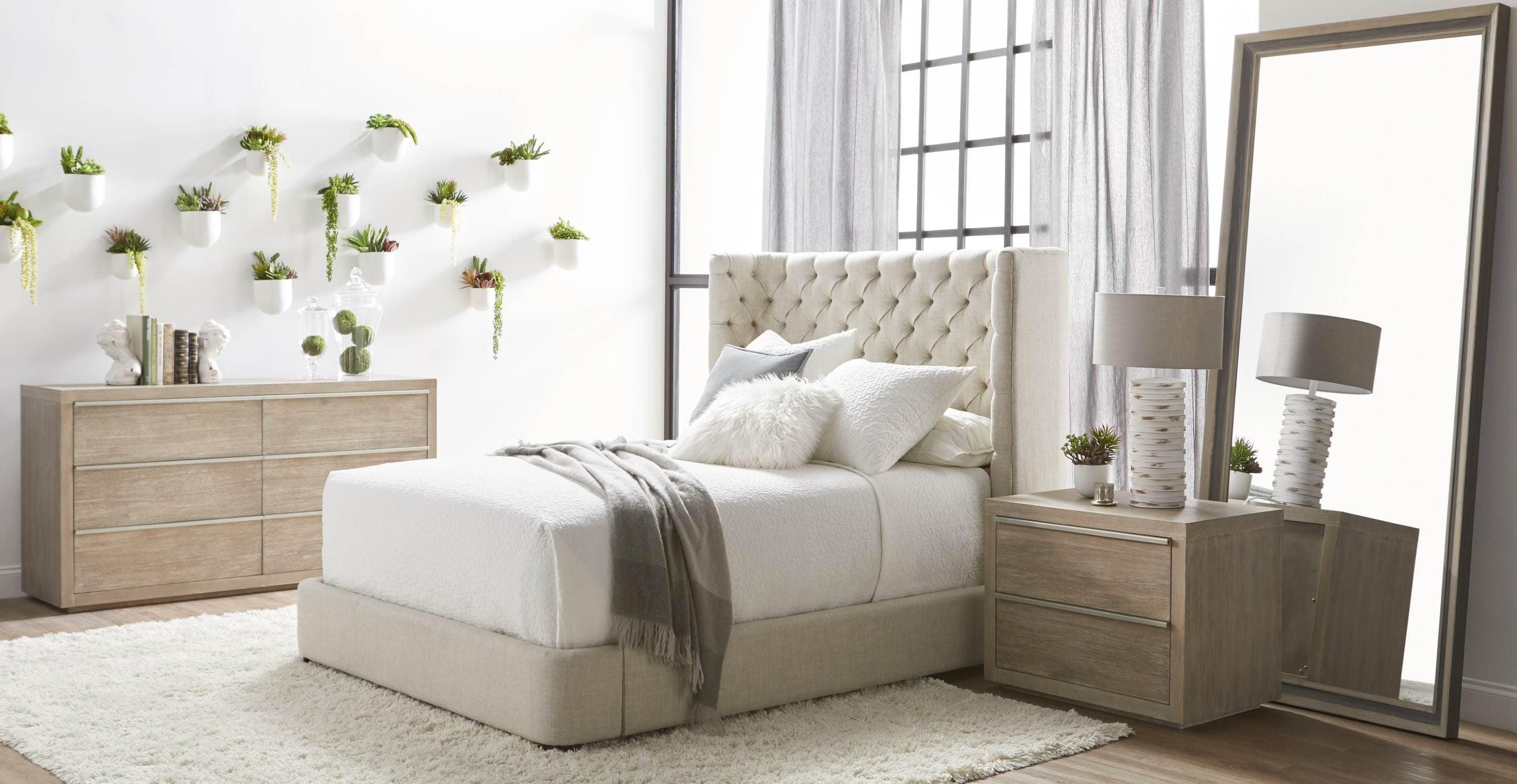 Barclay Bisque French Linen Upholstered Platform Bedroom Set