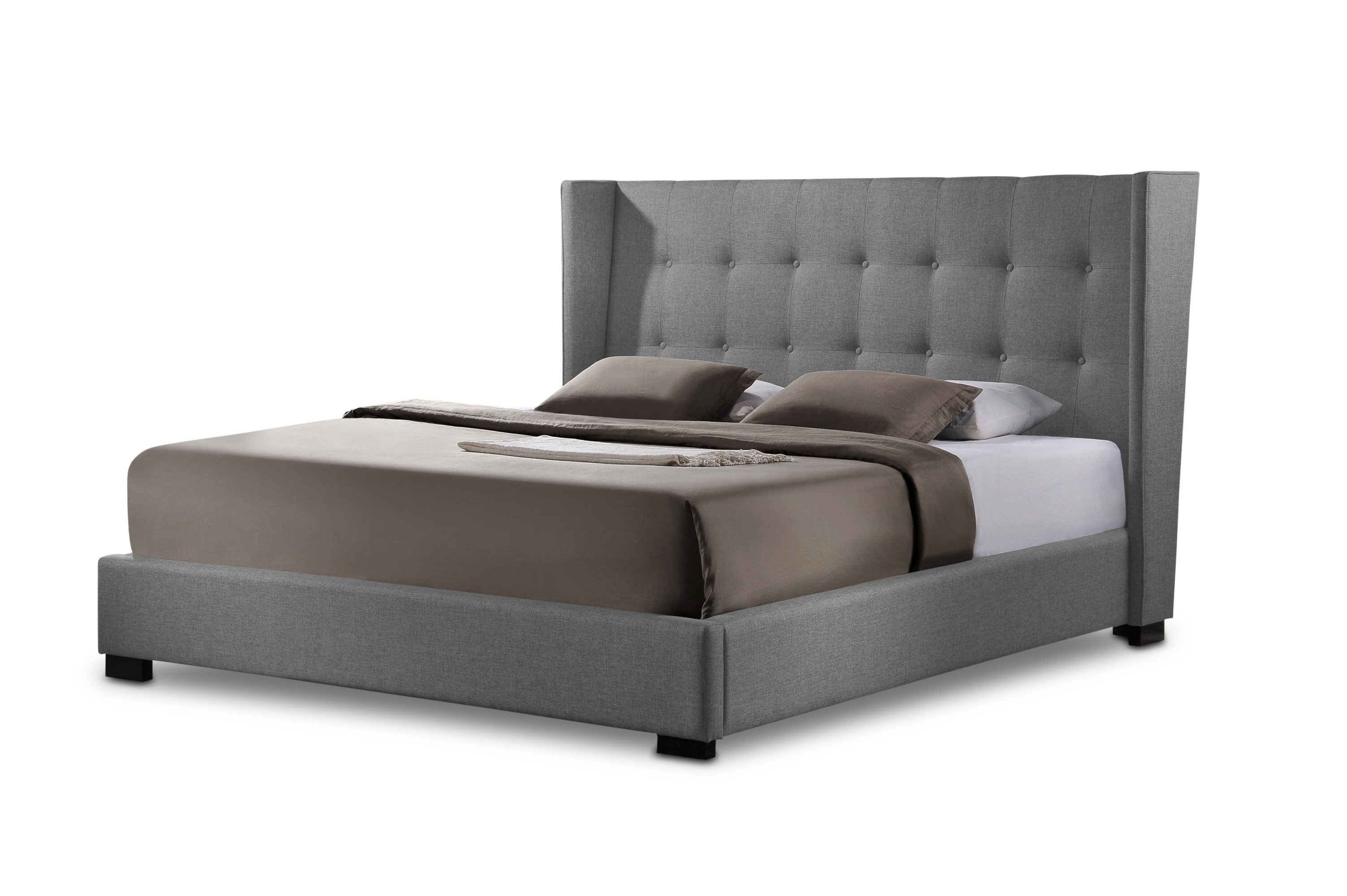 Baxton Studio Favela Gray Linen Modern Bed With Upholstered Headboard King Size 1stopbedrooms