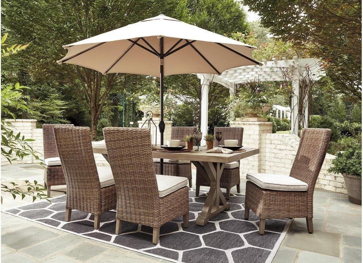Beachcroft Beige Rectangular Outdoor Dining Set ... on Beachcroft Beige Outdoor Living Room Set id=35470