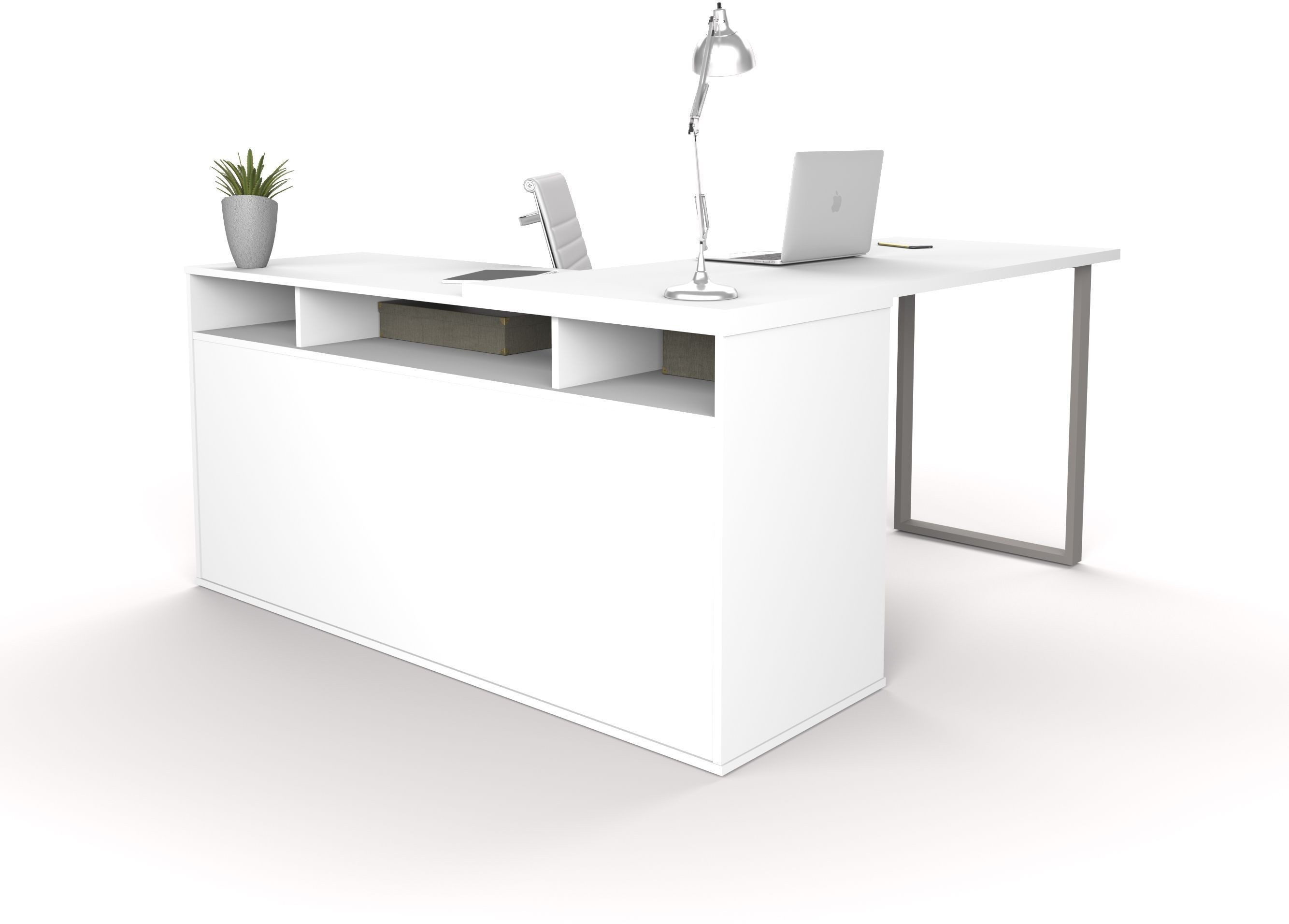 Solay White L Shaped Desk Media Gallery 2