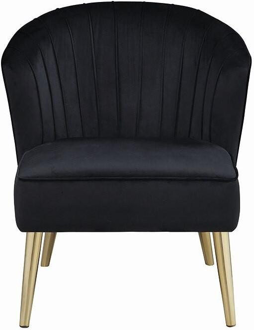 Black Velvet Accent Chair - 1StopBedrooms.