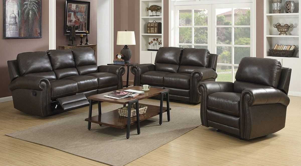 Branson Rich Dark Brown Leather Reclining Living Room Set