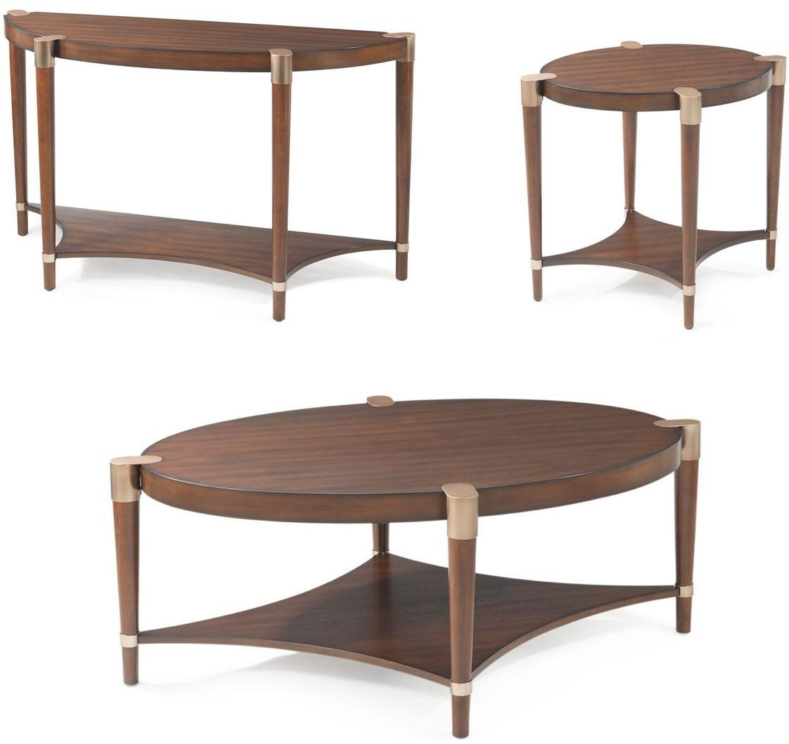 Bassett Mirror Company Metro Walnut Oval Cocktail Table
