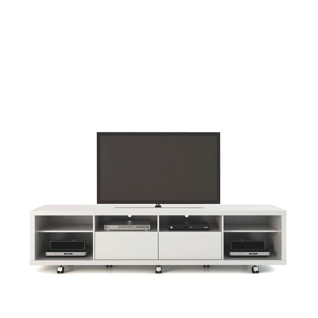 Cabrini Tv Stand And Floating Wall Tv Panel With Led Lights 2 2 In White Gloss 1stopbedrooms
