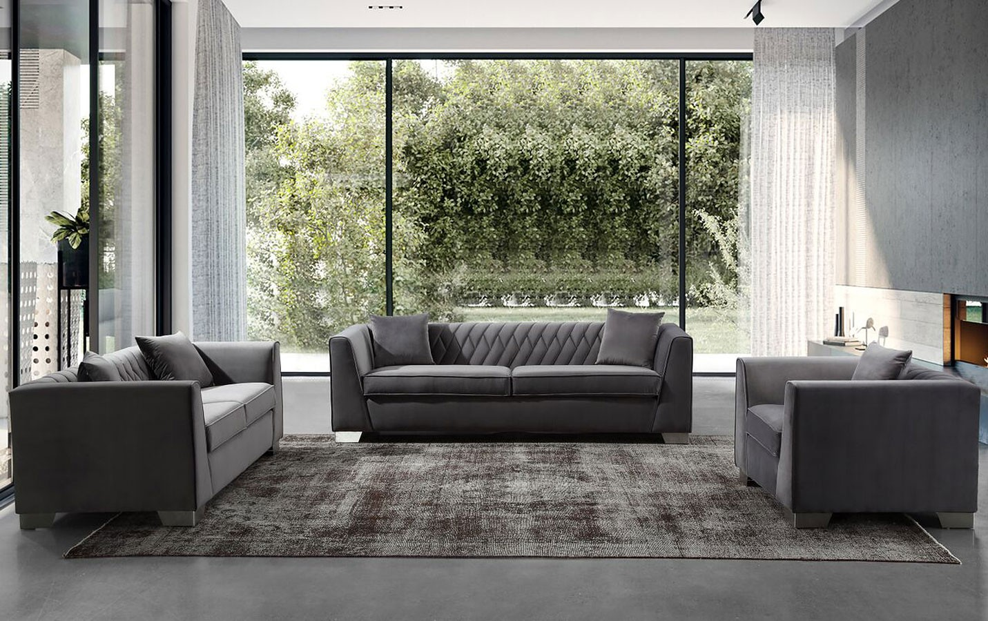 Cambridge Dark Grey Velvet Sofa 1stopbedrooms