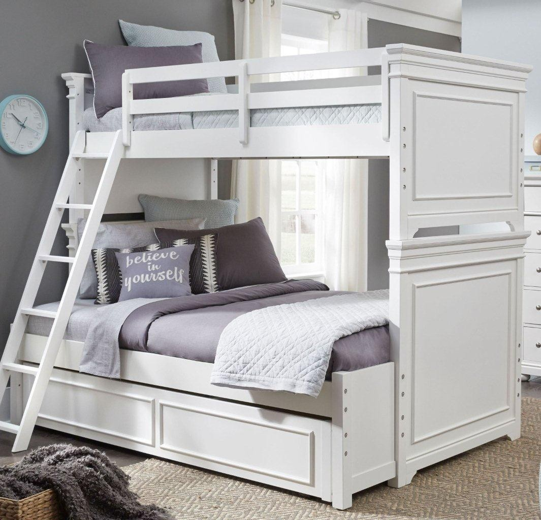 Picture of: Canterbury Natural White Twin Over Full Bunk Bed With Trundle 1stopbedrooms