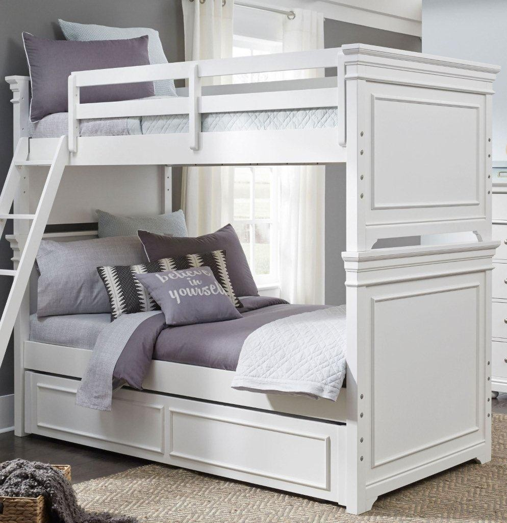 Picture of: Canterbury Natural White Twin Over Twin Bunk Bed With Trundle 1stopbedrooms