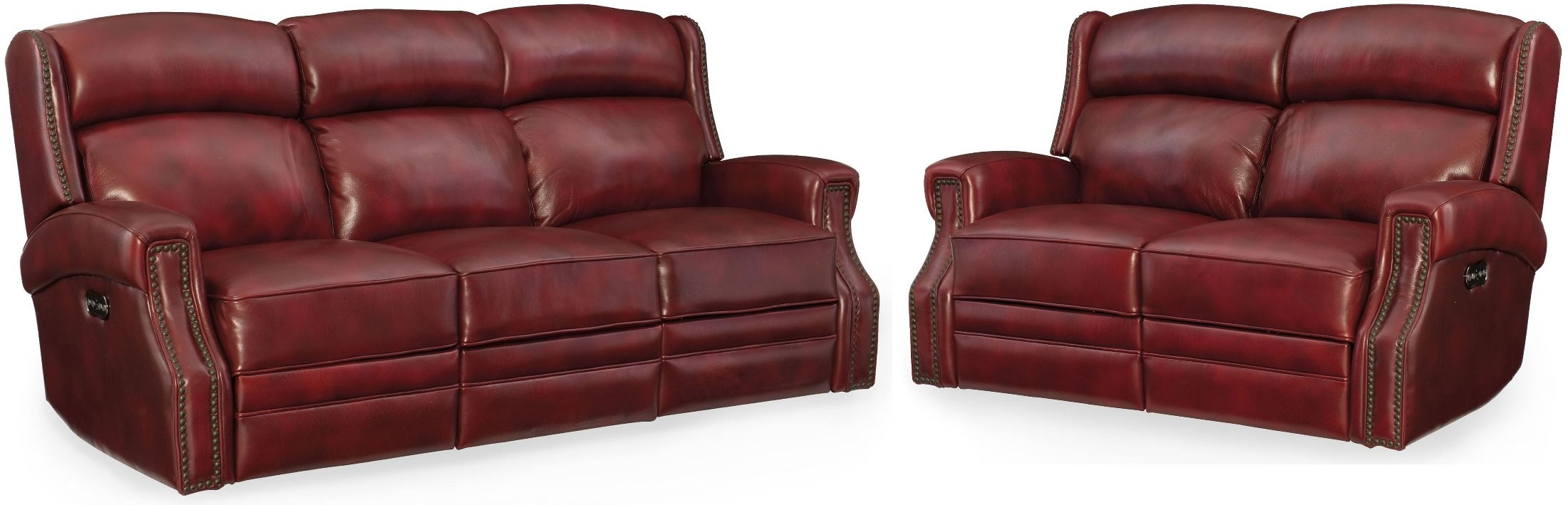 Carlisle Red Leather Power Reclining Living Room Set With Power Headrest 1stopbedrooms