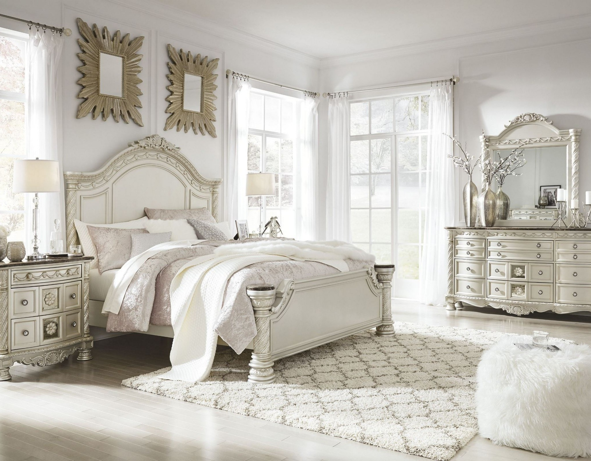 Cassimore North Shore Pearl Silver Panel Bedroom Set 1stopbedrooms
