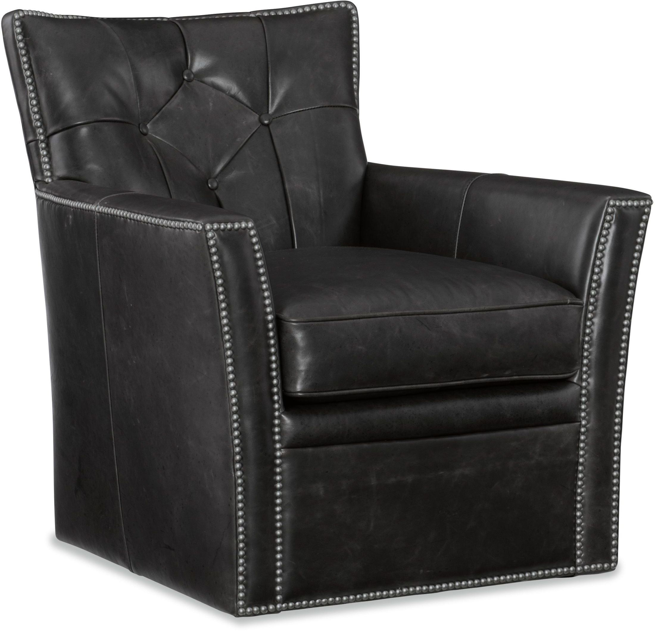 Picture of: Conner Black Leather Swivel Club Chair 1stopbedrooms