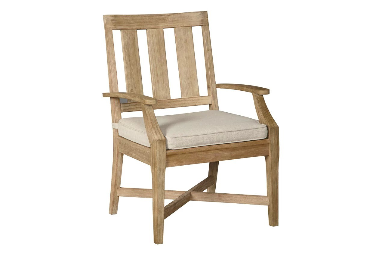 Clare View Beige Outdoor Arm Chair with Cushion Set of 2 ... on Clare View Beige Outdoor Living Room id=26787