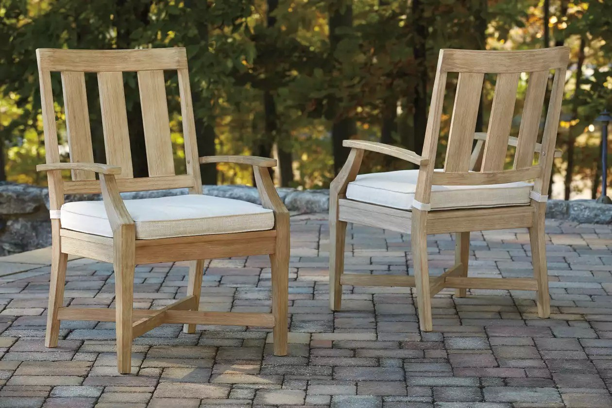 Clare View Beige Outdoor Arm Chair with Cushion Set of 2 ... on Clare View Beige Outdoor Living Room id=96386
