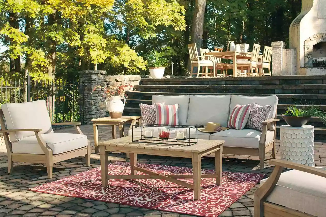 Clare View Beige Outdoor Sofa with Cushion - 1StopBedrooms. on Clare View Beige Outdoor Living Room id=16204