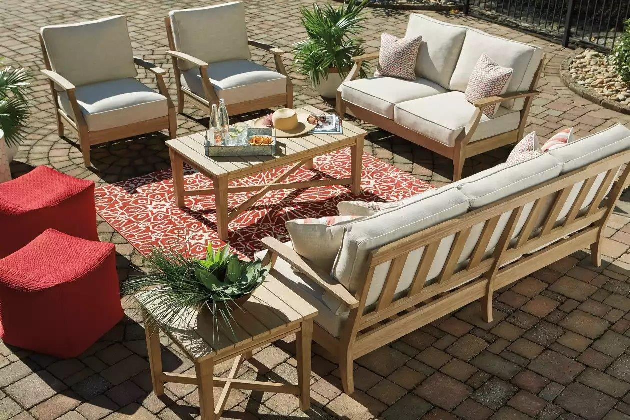 Clare View Beige Outdoor Sofa with Cushion - 1StopBedrooms. on Clare View Beige Outdoor Living Room id=44678