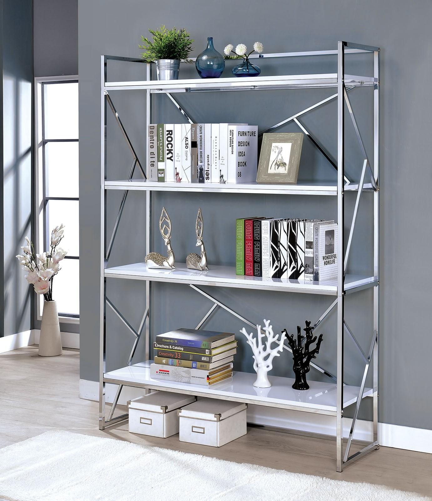 Gustav White Hight Gloss And Chrome Bookcase