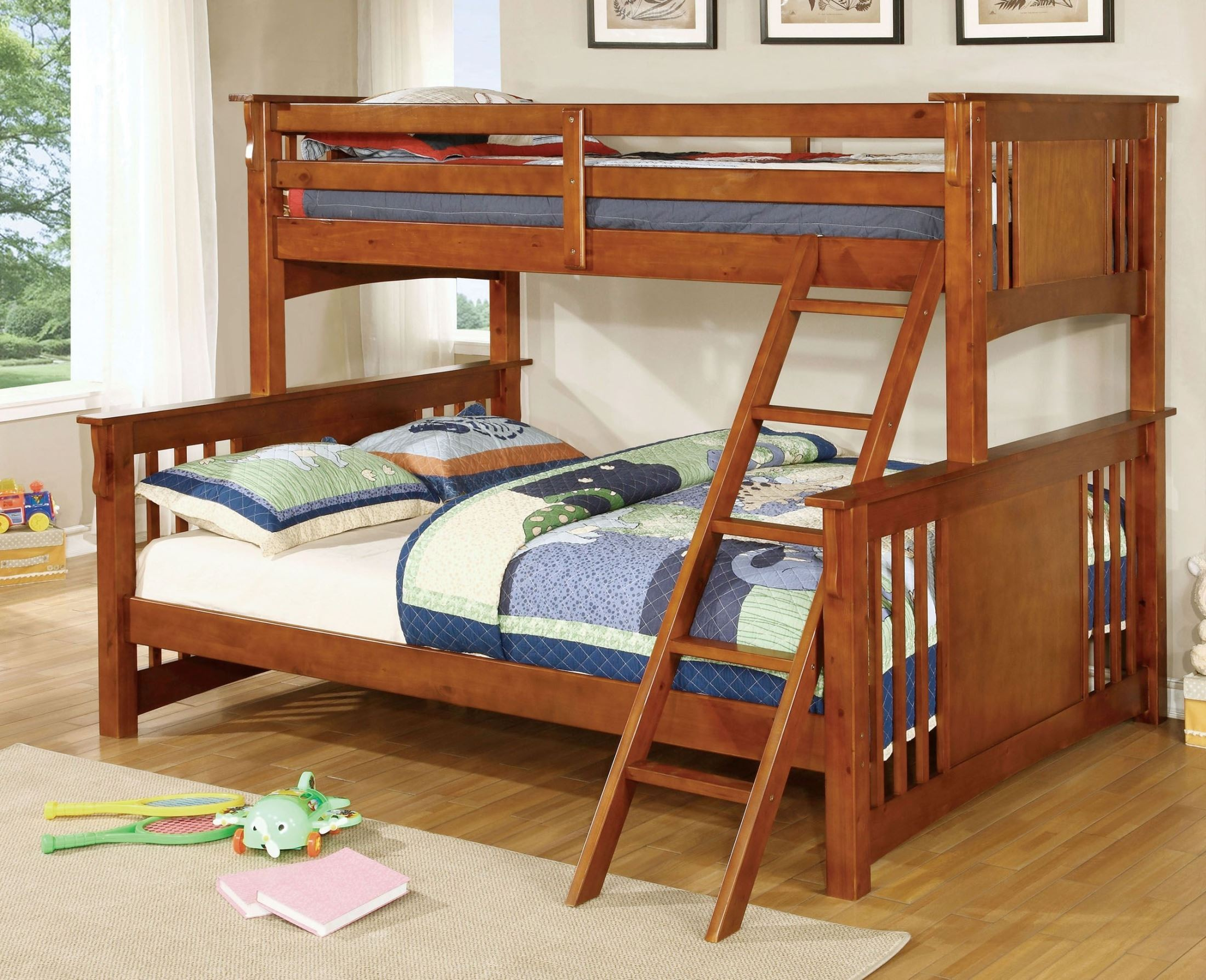 Spring Creek Oak Twin Extra Large Twin Over Queen Bunk Bed 1stopbedrooms