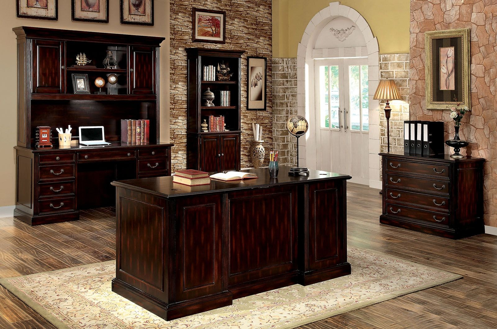Warm Cherry Executive Desk Home Office Collection: Coolidge Cherry Book Shelf