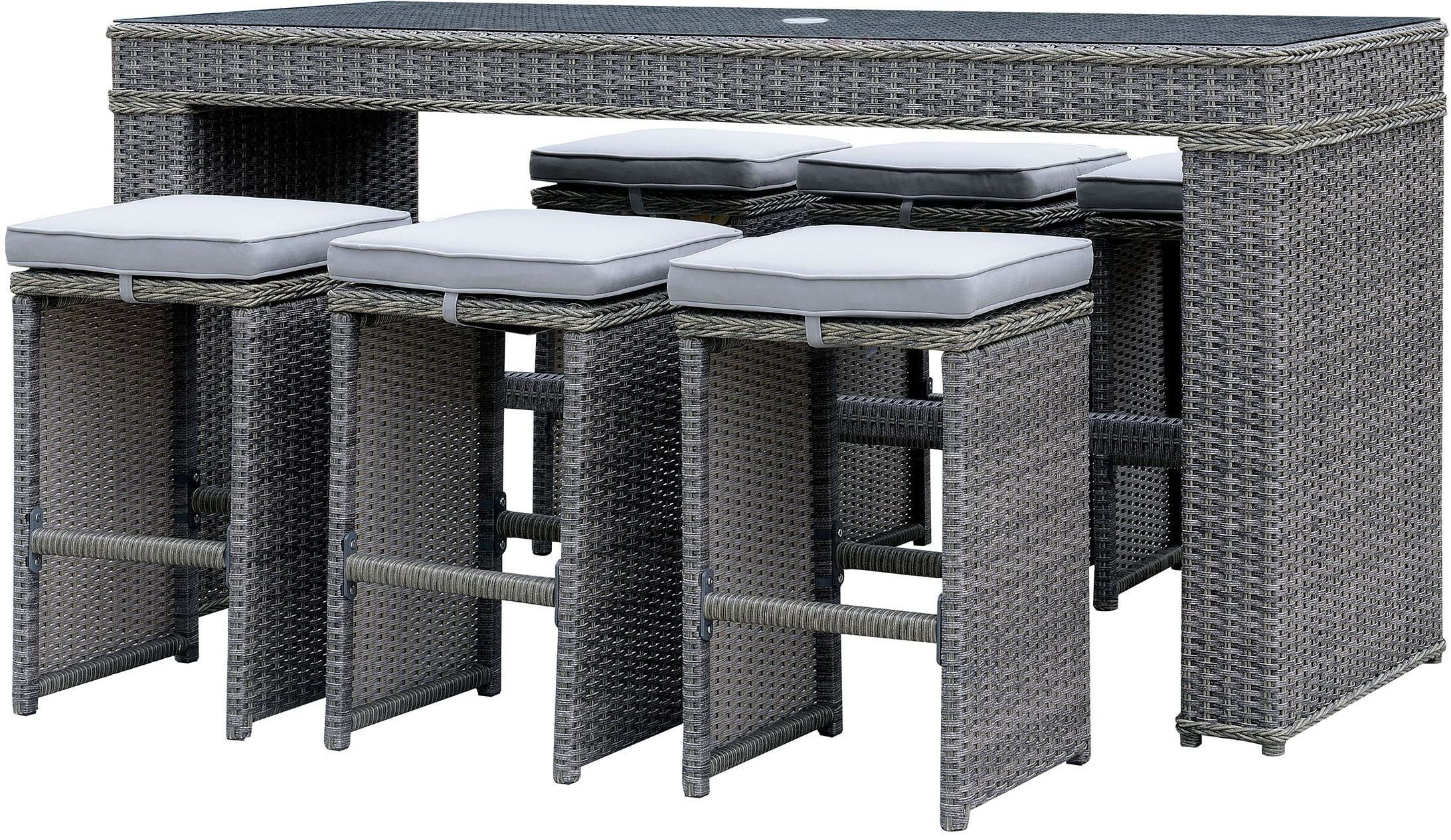 Ismay Gray Outdoor Patio Dining Set 1stopbedrooms