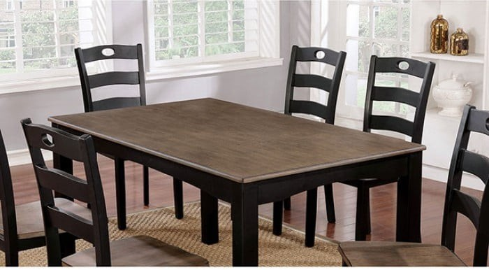 Liliana 7 Piece Black And Light Oak Dining Table Set