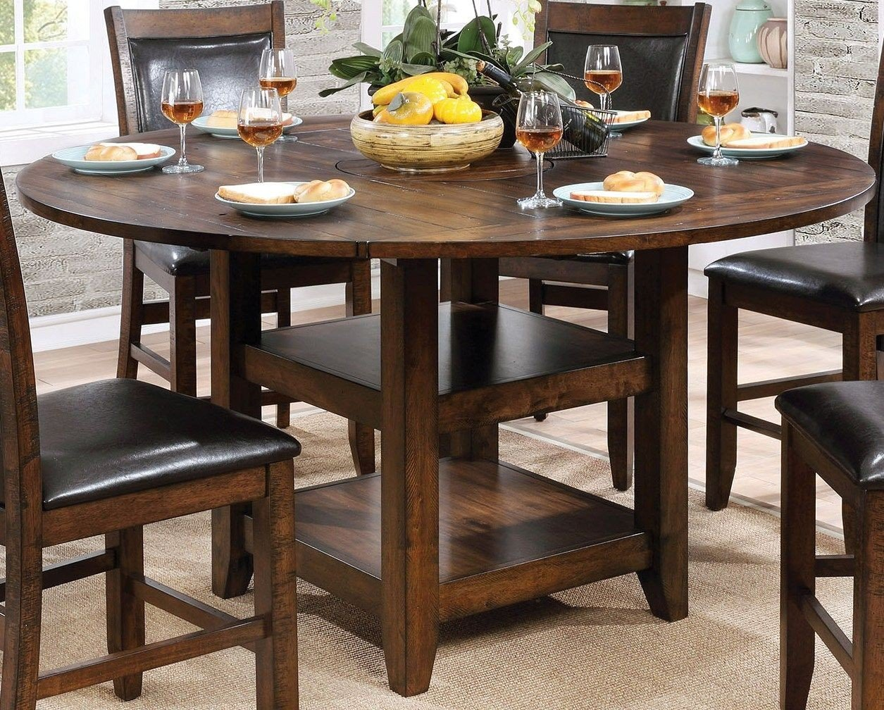 Meagan Ii Brown Cherry Round Counter Height Dining Room