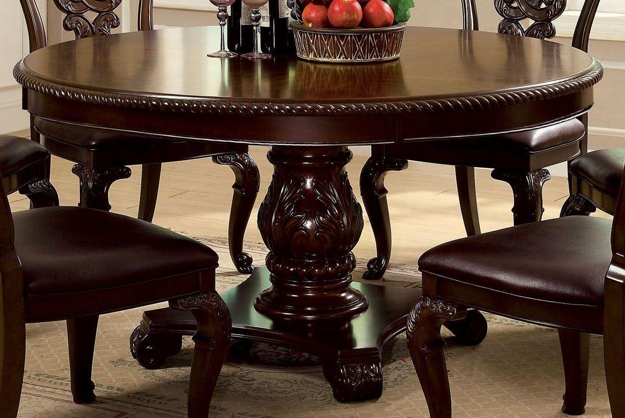 0880c804295 Furniture of America Bellagio Brown Cherry Round Pedestal Dining ...