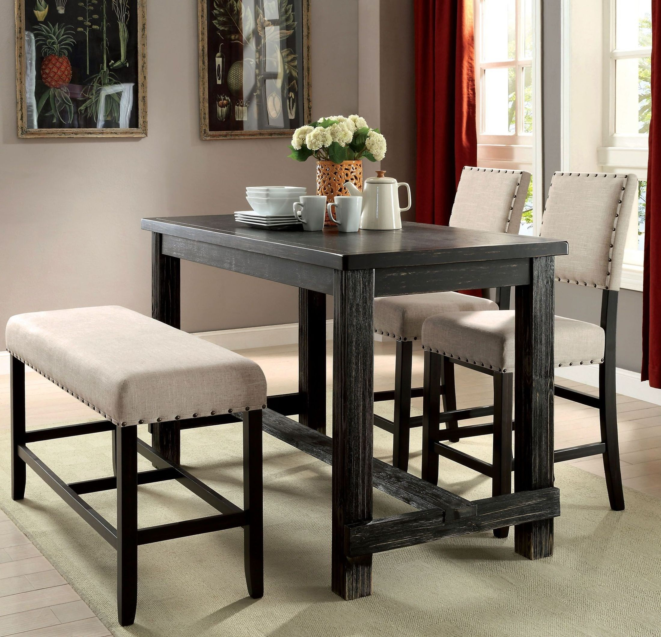 Dining Room Set For 2: Sania Ii Antique Black Counter Height Dining Room Set