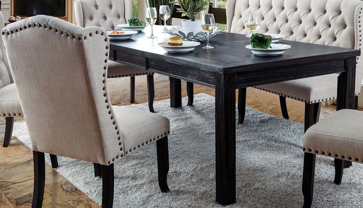 Picture of: Sania I Antique Black Extendable Rectangular Leg Dining Room Set Furniture Plus