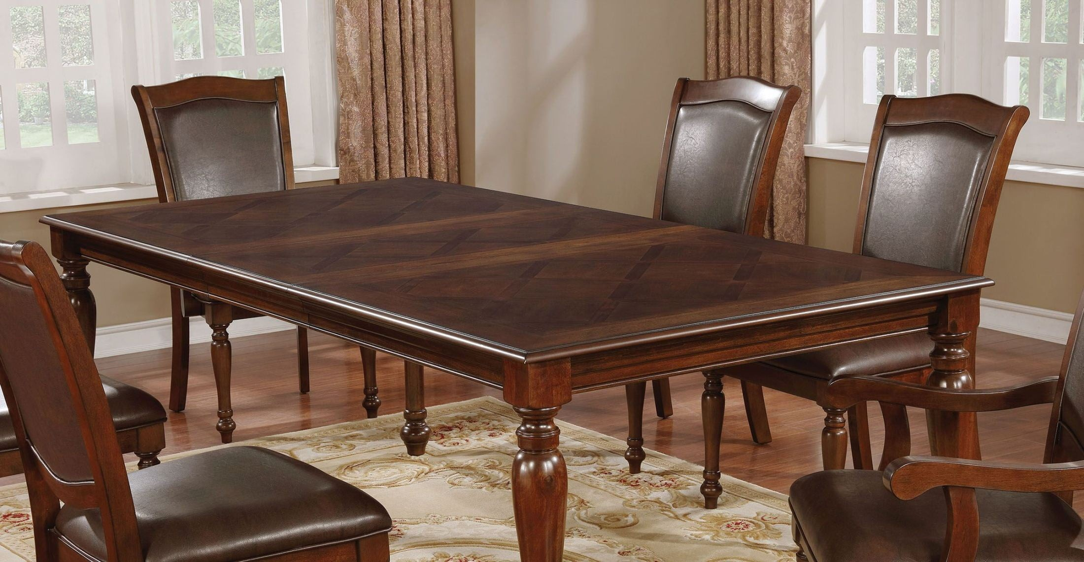 ca828a02c75d Furniture of America Sylvana Brown Cherry Dining Table - Sylvana ...