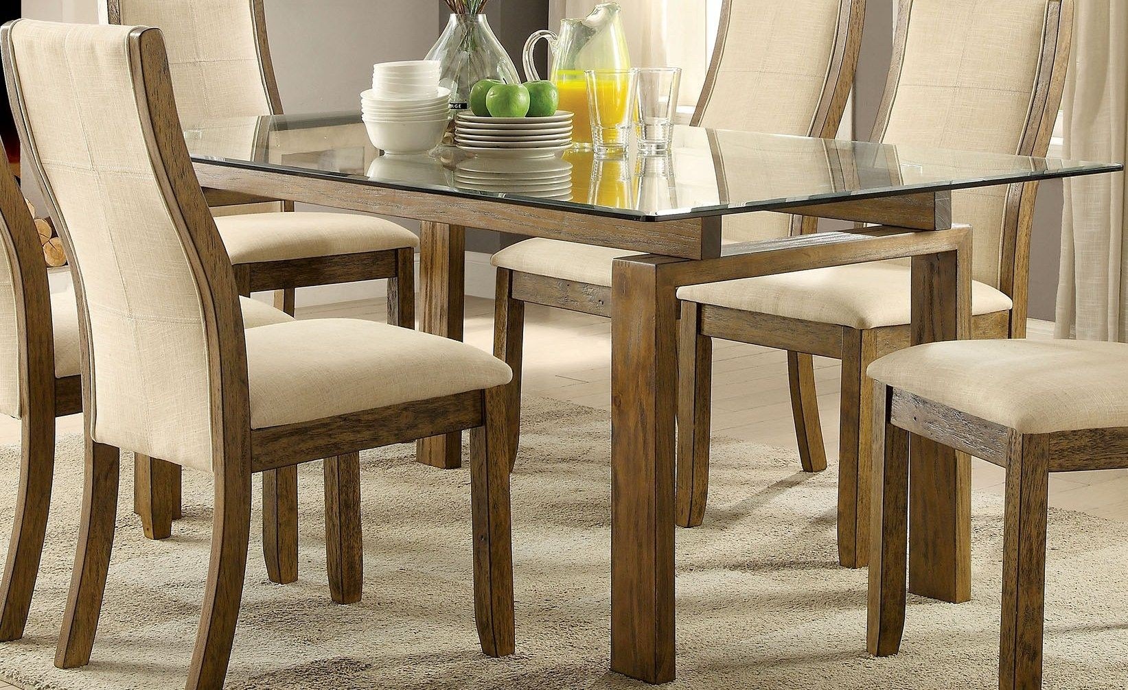 Onway Oak Rectangular Glass Top Dining Table