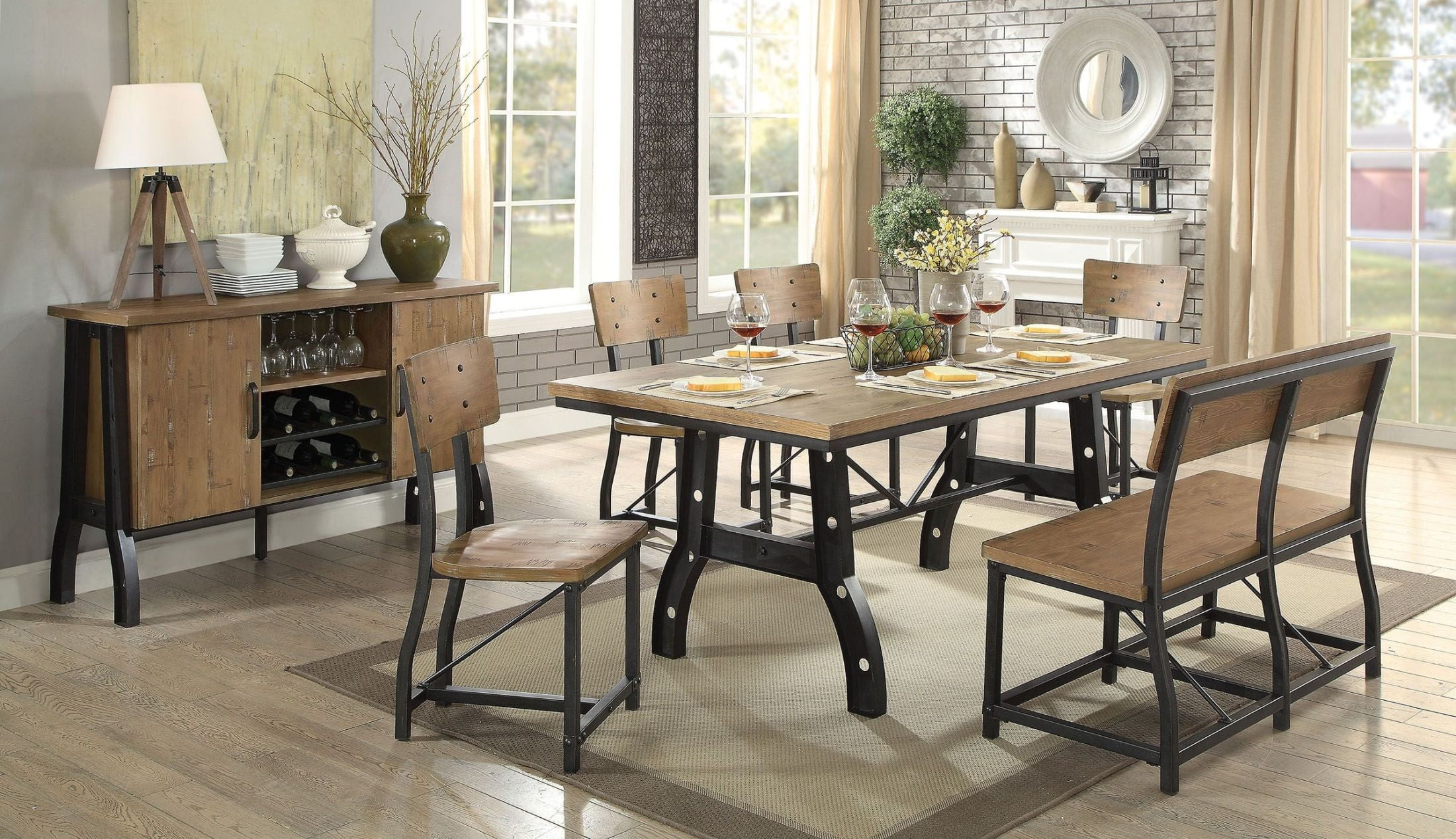 Kirstin Rustic Oak Dining Room Set 1stopbedrooms