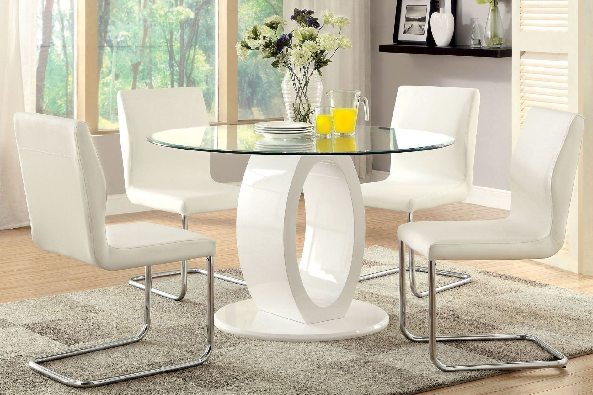Lodia i white glass top round pedestal dining room set media gallery