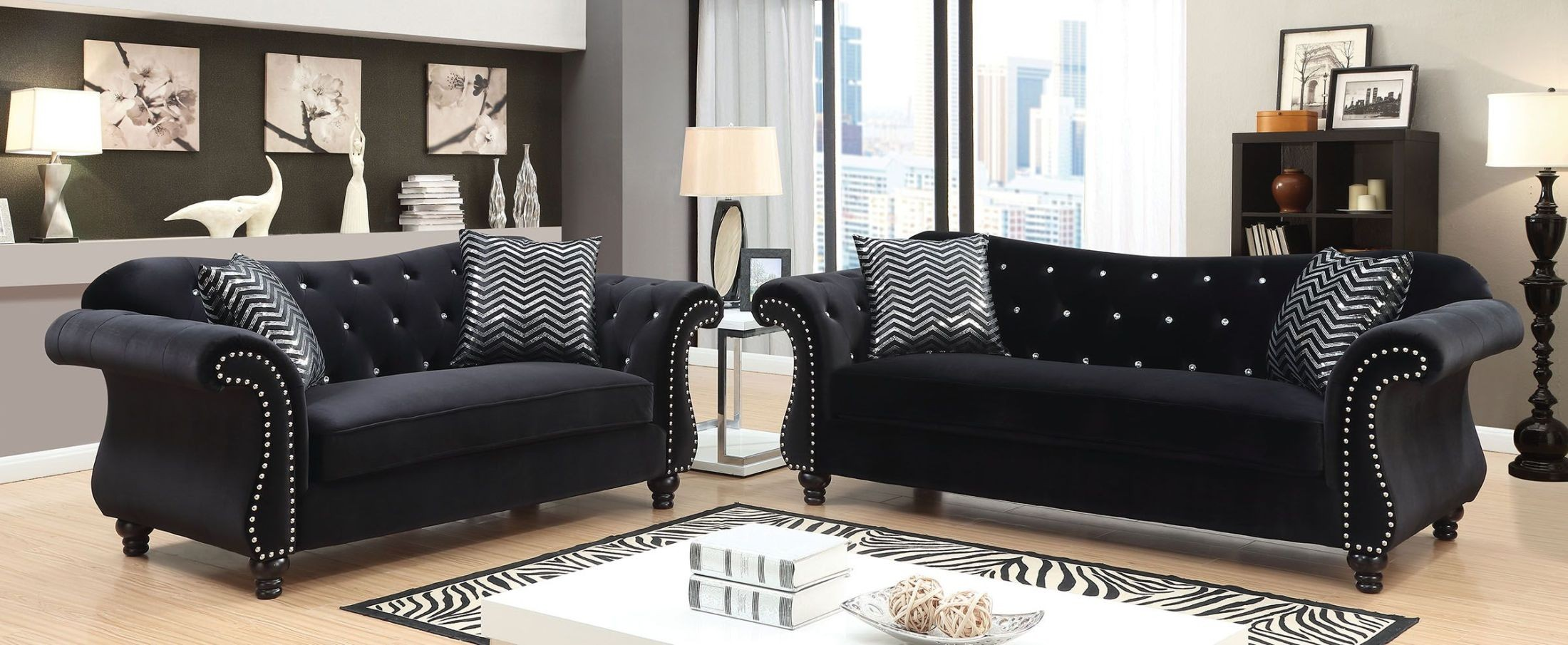 Jolanda I Black Living Room Set