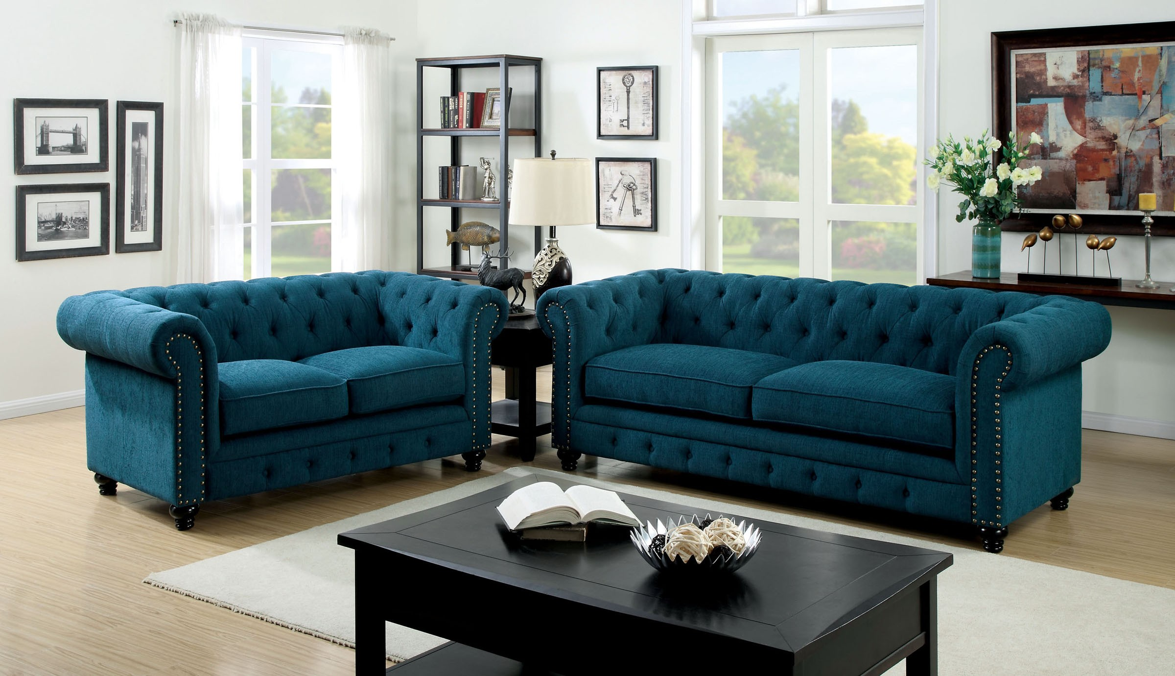 Peachy Stanford Dark Teal Fabric Living Room Set Download Free Architecture Designs Scobabritishbridgeorg