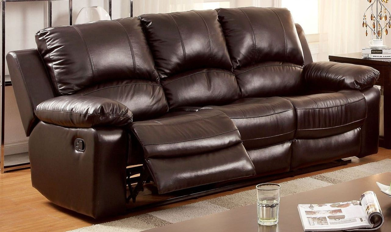 Reclining sofa leather loveseat