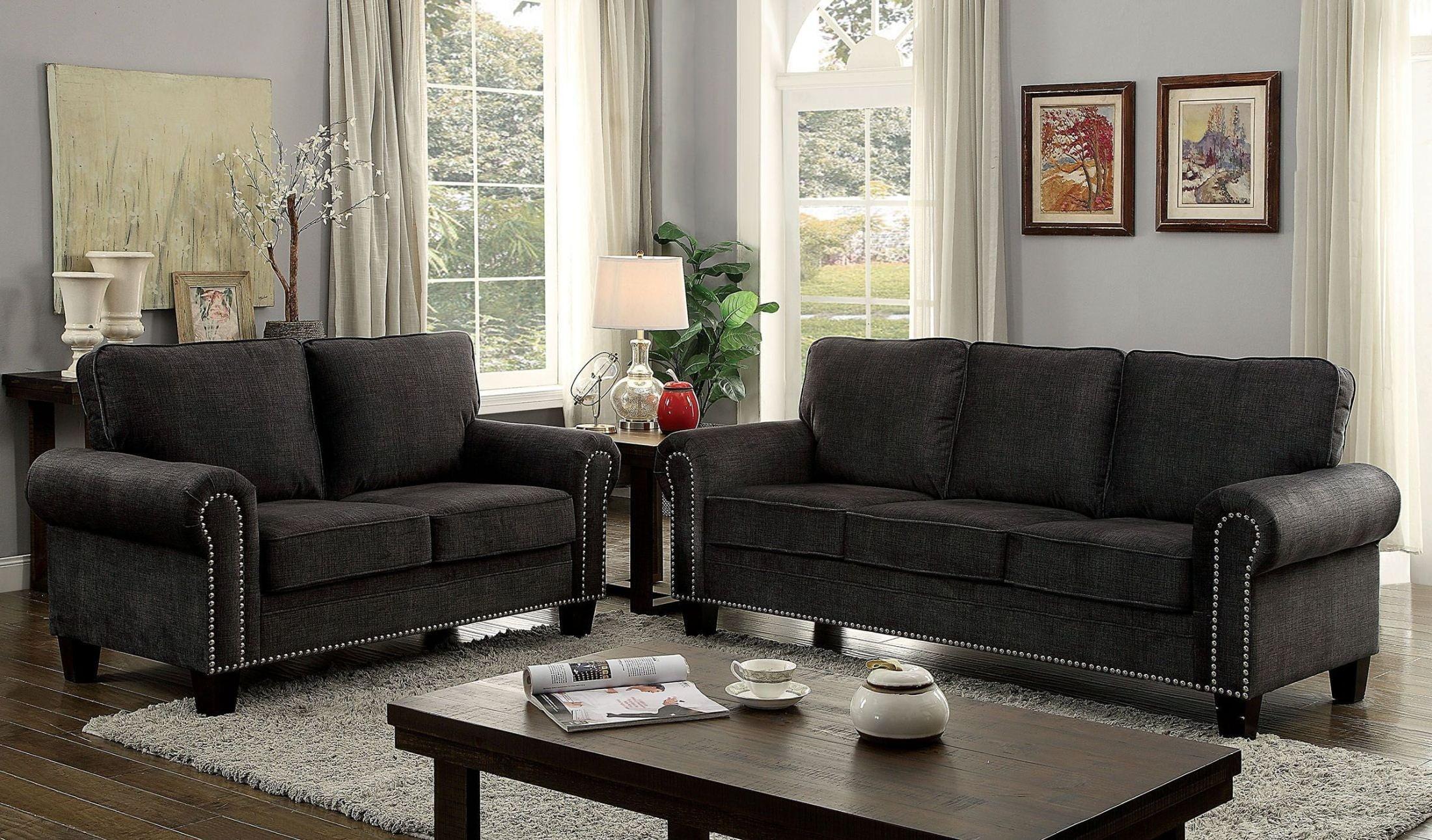 Furniture Of America Elwick Dark Gray Living Room Set