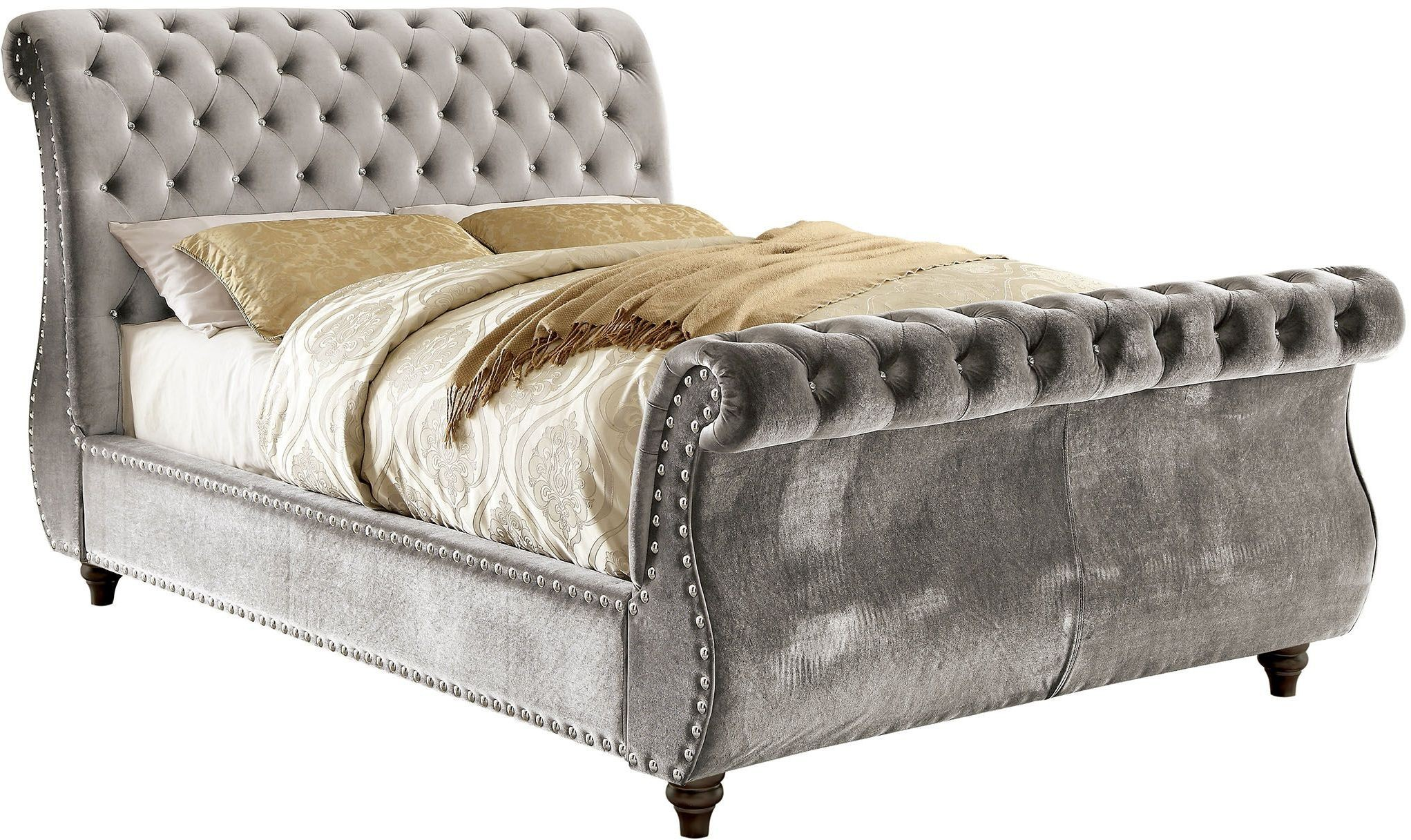 - Noella Gray King Upholstered Sleigh Bed - 1StopBedrooms.