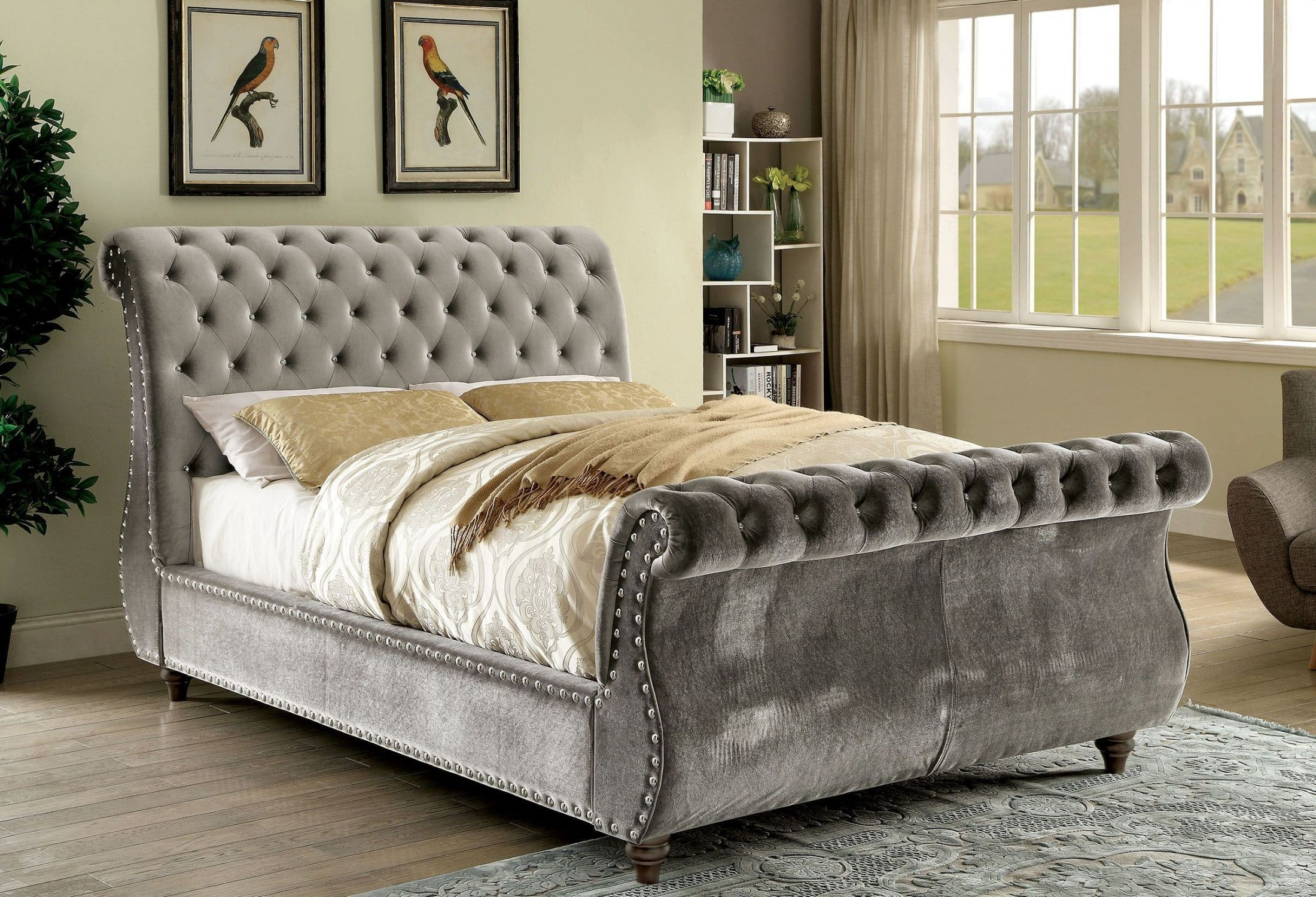 furniture of america noella gray king upholstered sleigh bed noella collection 4 reviews. Black Bedroom Furniture Sets. Home Design Ideas