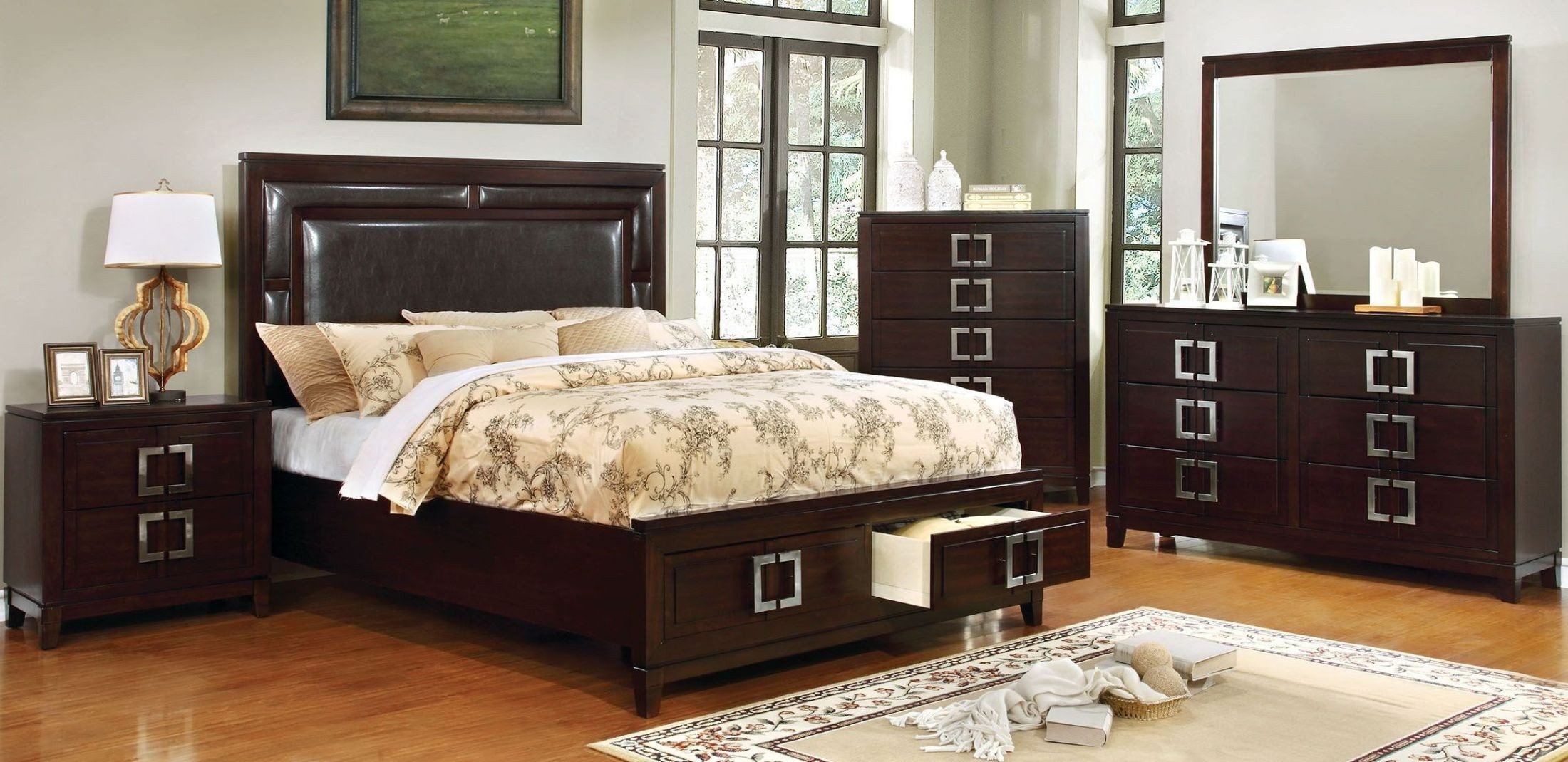 Balfour brown cherry panel storage bedroom set - Bedroom furniture sets buy now pay later ...