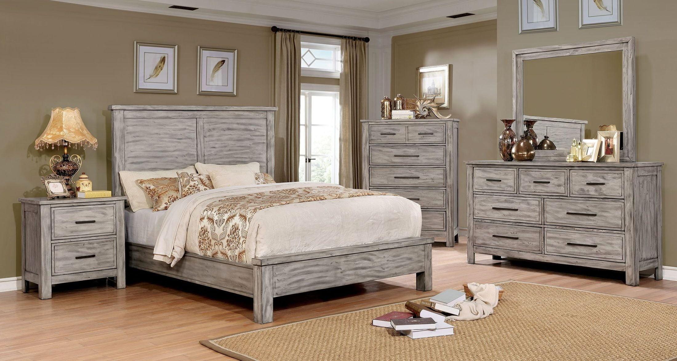 Grey Vintage Bedroom: Canopus Antique Gray Dresser