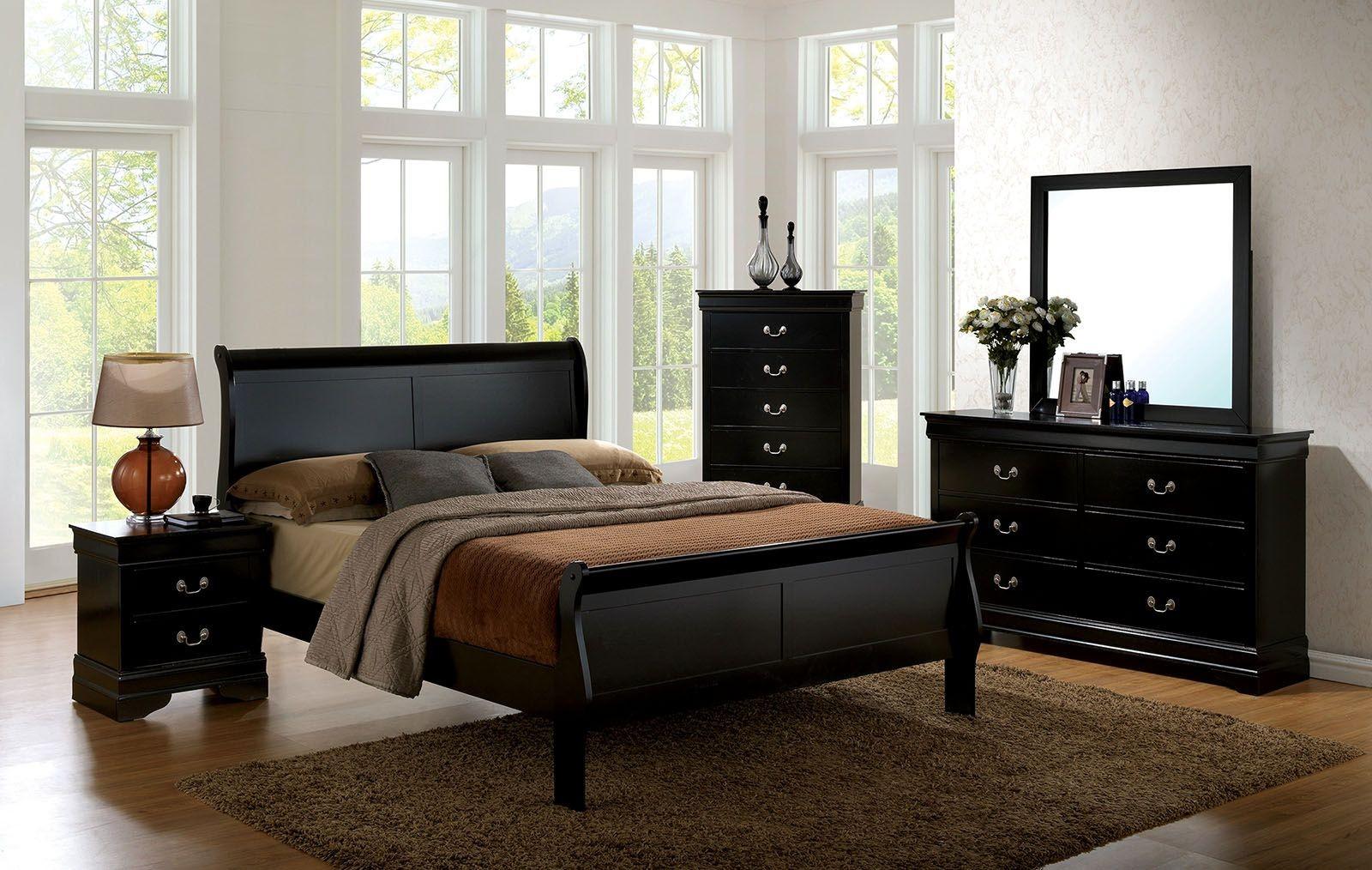 Louis philippe iii black youth panel bedroom set - Louis philippe bedroom collection ...