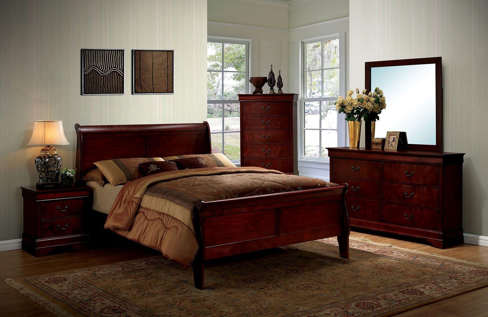 Louis philippe iii cherry panel bedroom set 1stopbedrooms - Louis philippe bedroom collection ...