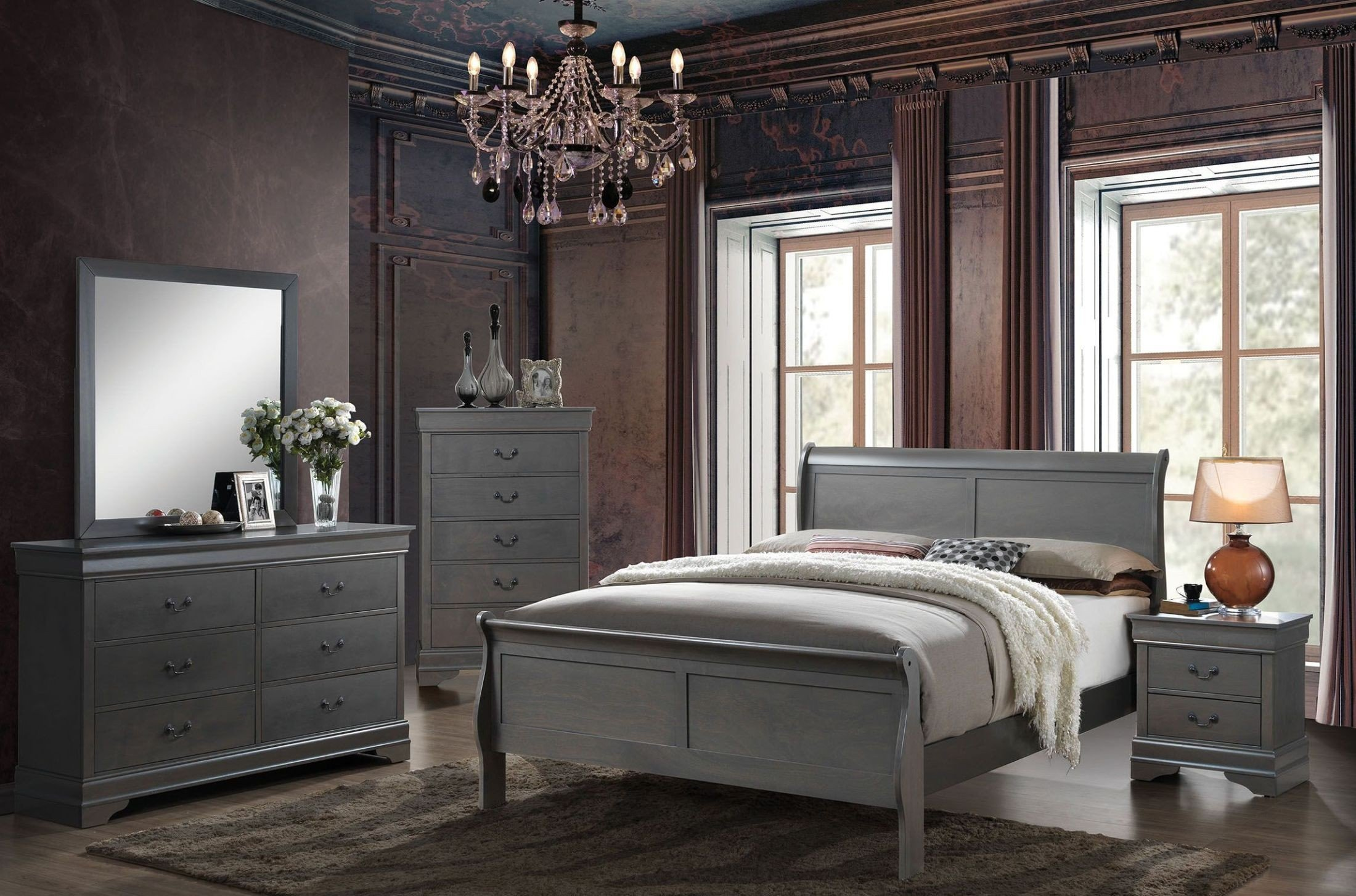 Furniture of america louis philippe iii gray sleigh - Louis philippe bedroom collection ...