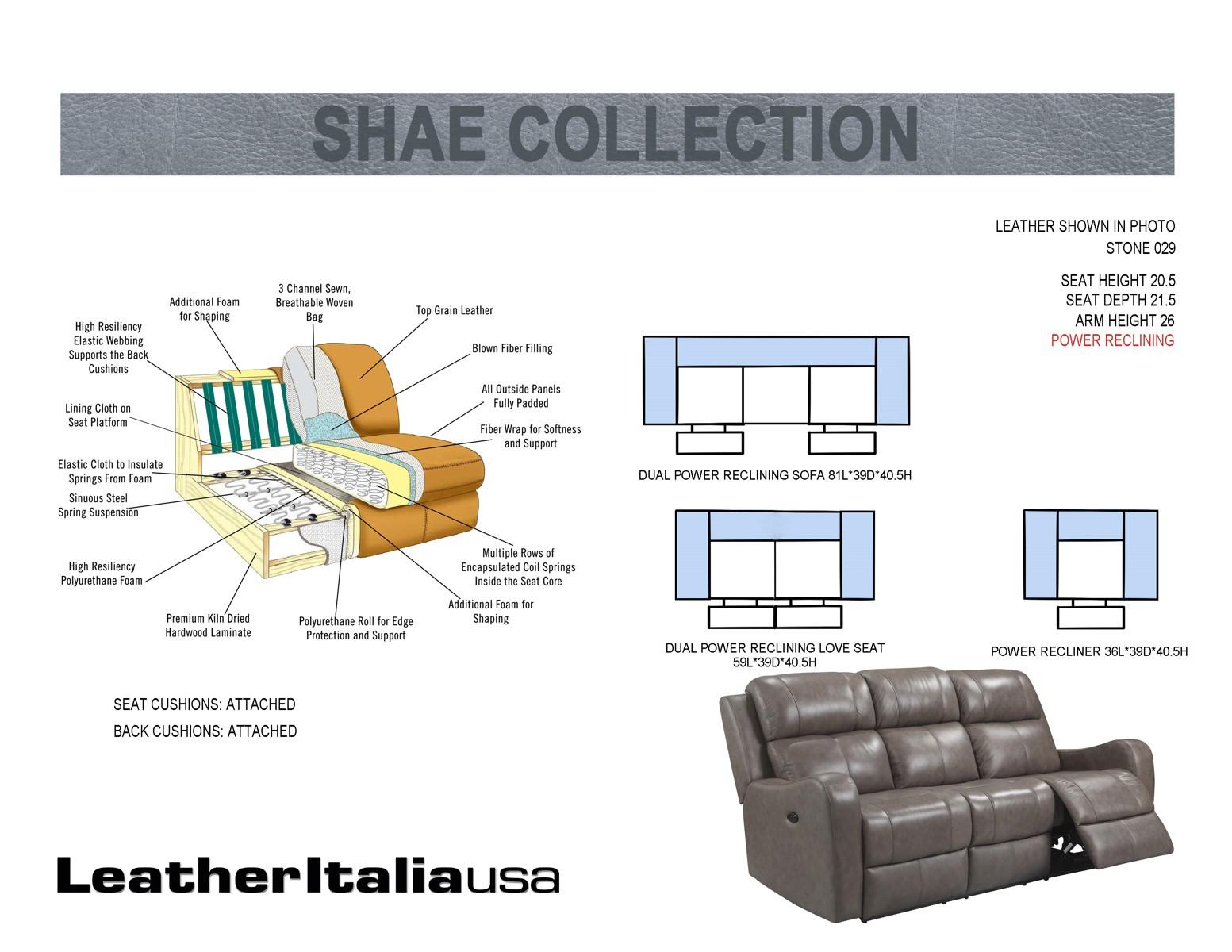 Leather Italia Usa Shae Cortana Power Sofa In Stone 1555